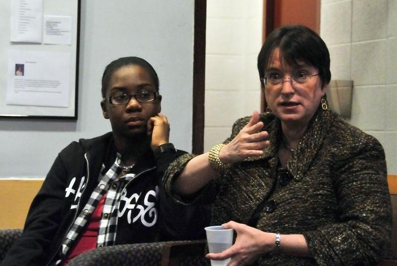 Kim Gandy speaks in the Quincy Junior Common Room.