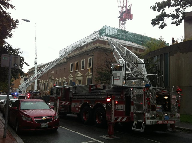 Fire trucks swarm the Fogg