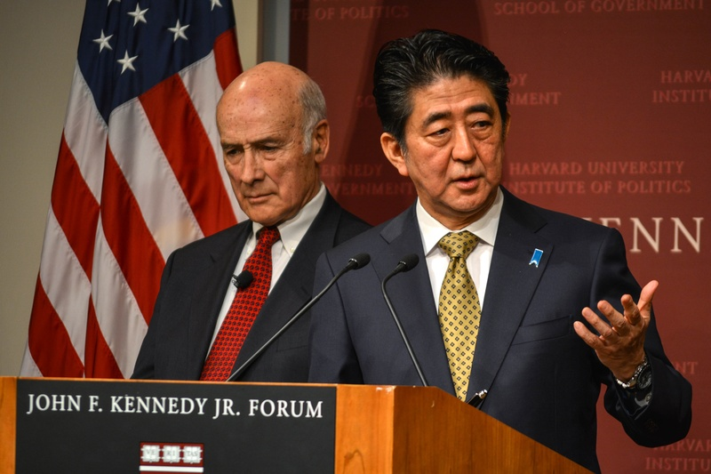 Shinzo Abe, with Joseph S. Nye